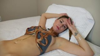 Star Wars Slave Leia Masturbating On Bed And Riding Dildo POV