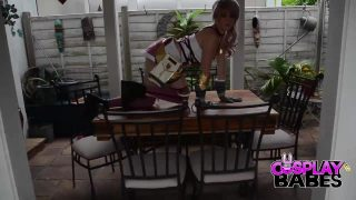 Serah from Final Fantasy Cosplay Hottie Playing With Herself Outside