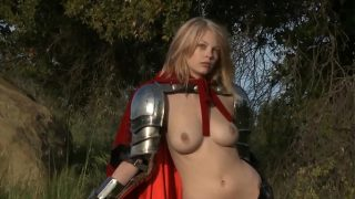 Female Knight Cosplayer Masturbating In The Forest While Wearing Armor