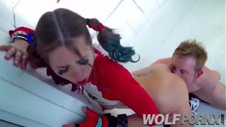 Riley Reid Cosplaying as Harley Quinn Gets Her Ass Eaten
