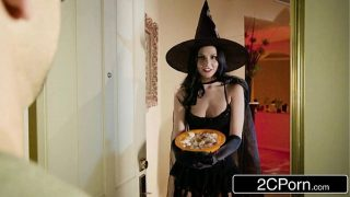 Cheating Wife Cosplayer Dressed As a Witch Fucks Behind Husbands Back
