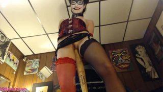Harley Quinn Cosplay Slut Fucking Her Asshole With Baseball Bat