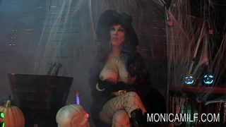 MILF Witch Cosplayer In Fishnets Masturbating And Gets Fucked Doddystyle
